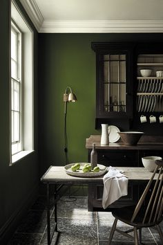 love these dark green paint colours by Little Greene - part of their latest new collection including sage greens, dark greens, pale green and aquas. Click through to see more green paint colour ideas you'll love Olive Green Paints, Sage Green Paint, Green Paint Colors, Room Colors, Dark Colors, Olive Green Walls, Green Wall Color, Olive Green Kitchen, Green Kitchen Walls