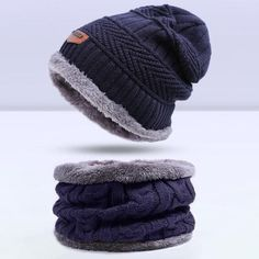 c74d1b48 SIMPLESHOW Winter Knitting Hat Scarf Set Men Solid Color Warm Cap Scarves  Male Winter Outdoor Accessories Hats Scarf 2 Pieces