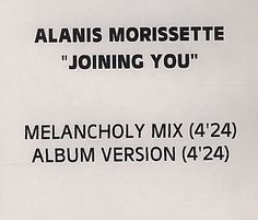 For Sale - Alanis Morissette Joining You UK Promo  CD-R acetate - See this and 250,000 other rare & vintage vinyl records, singles, LPs & CDs at http://991.com
