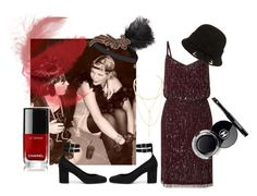 Inspiration nouvel an thème  20's by estellenath on Polyvore featuring Adrianna Papell, Yves Saint Laurent, Jules Smith and Chanel