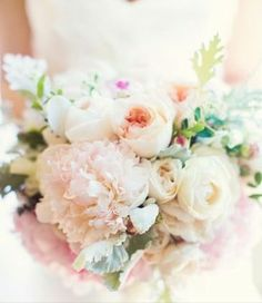 Blush Bouquet of peonies, garden roses & dusty miller