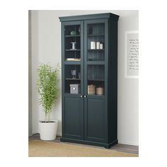 LIATORP Bookcase with glass doors, gray | Dream House | Pinterest ...