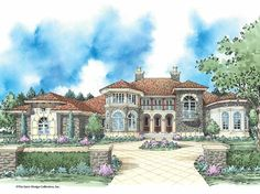 Mediterranean House Plan with 4837 Square Feet and 5 Bedrooms(s) from Dream Home Source | House Plan Code DHSW53190