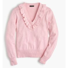 J.Crew Ruffle V-Neck Sweater (€84) ❤ liked on Polyvore featuring tops, sweaters, ruffle trim sweater, frilly tops, ruffle top, pink sweater and v neck sweater
