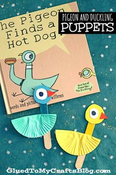 Cupcake Liner Pigeon & Duckling Puppet - Kid Craft - - Cupcake Liner Pigeon & Duckling Puppet - super fun, simple and inexpensive BUT it also goes along perfectly with the Mo Williems book series! Toddler Crafts, Preschool Crafts, Crafts For Kids, Preschool Ideas, Pigeon Craft, Pigeon Books, Mo Willems, Puppet Crafts, Amigurumi