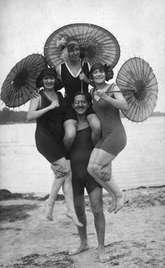 Frolicking at the beach, 1920s