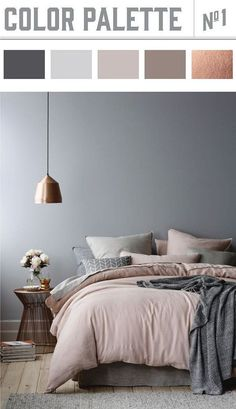Bedroom Color Palette. Copper and muted colors in bedroom results in a winner color palette. #Bedroom #Colorpalette #mutedcolors Wiley Valentine