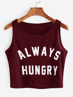Always hungry?  Dieses und weitere coole Statement Shirts findest du auf www.stylishcircle.de!  #Statement #Croptop #Burgundy #StylishCirlce