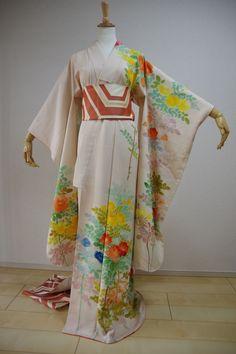 Kimono Dress Japan Furisode Kimono costume Vintage dress Obi Belt set KDJM-F0041