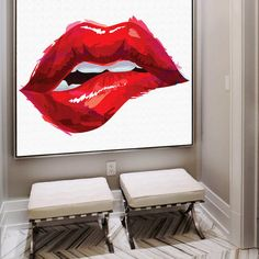 Luscious Lips Bite  Canvas Art  Art Print  Wall Art by ChoosyShop