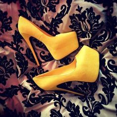 """""""Yellow heels"""" These are soo hot! Pin if you would wear it!"""
