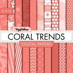 Digital Paper Pack- Coral Trends -  Digital Scrapbook- 12x12 Paper size - Many Trending Patterns - Digital Paper set by DigiBonBons on Etsy