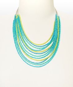 Look what I found on #zulily! Blue & Yellow Strand Necklace by Majestic #zulilyfinds