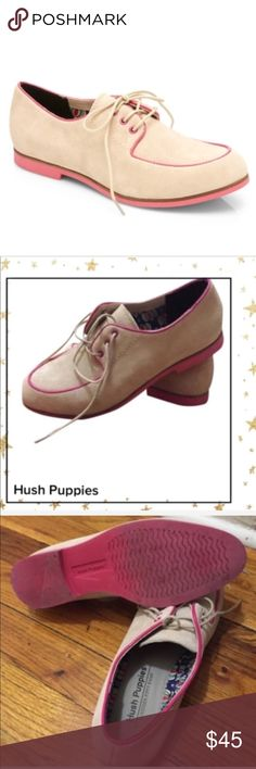 Hush Puppies Graham Blucher Nude suede Oxfords Lacer cut out oxfords in good pre owned condition. Hush Puppies Shoes Flats & Loafers