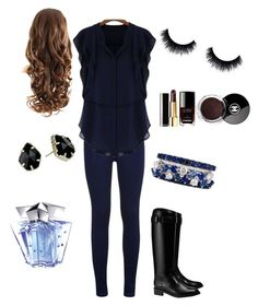 """Blue&Black outfit idea :)"" by szabo-dominika on Polyvore featuring Tory Burch, Kendra Scott, Chanel and Thierry Mugler"