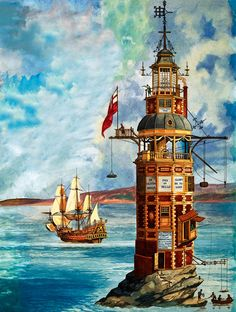 The First Eddystone Lighthouse (Original) art by Peter Jackson