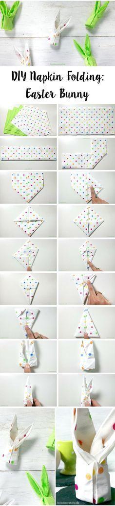 DIY Serviette falten: Osterhase | DIY Napkin Folding: Easter Bunny