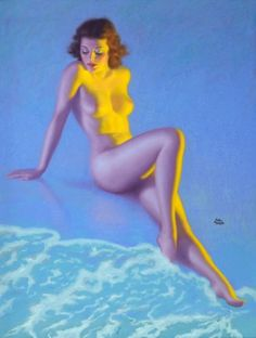 Pin-up and Glamour Art, EARL MORAN (American, 1893-1984). A Mere Maid, Brown and Bigelowcalendar illustration, c. late 1930s. Pastel on board. ...
