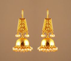 Etched Jhumkas in Shining Gold Plating #jewels #woman #india