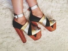 Jeffery Campbell Gold Silver Black Chunky Heels