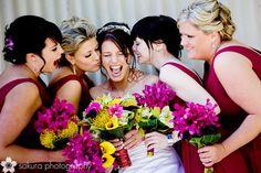 bridesmaids and bride bouquet colorful