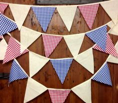Rustic Calico & Gingham  Bunting Banner Flag to Flag Style 34ft 10mts 58 Flags  Natural Cotton Calico Red Blue Gingham $34.50