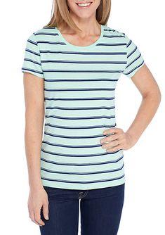 d984390350 New Directions® Short Sleeve Printed Rib Tee Navy Stripes, Tee Shirts, T  Shirts