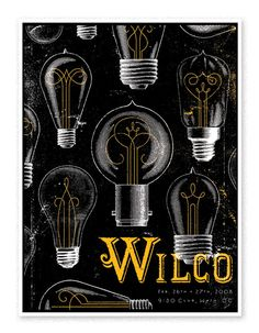 Wilco Lights: Show poster for Wilco's 2008 D. Lightbulb filaments by Jessica Hische. Poster from Heads of State. Rock Posters, Band Posters, Concert Posters, Music Posters, Cover Design, Design Art, Print Design, Type Design, Web Design