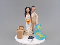 Customized Travel Theme Wedding Cake Topper by mudcards on Etsy https://www.etsy.com/listing/181301680/customized-travel-theme-wedding-cake