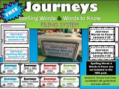 Organize your Journeys Spelling Words with these FREE filing cards.Print, laminate and file. I filed mine in a Sterilite container that is a little bigger than the spelling cards. Can be found at Big Lots!Easily find your spelling cards and words to know words each week with this system.My spelling words that you can purchase are labeled at the bottom of each card to tell the Lesson/Unit and which number.