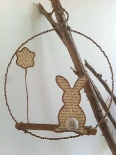 Easter ornament made of wire and old French book by MyBlackBook