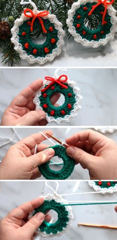 Crochet Christmas Wreath Easy Tutorial - Design Peak Today we are going to look at one more Christmas tutorial. Crochet Christmas Wreath, Crochet Wreath, Crochet Christmas Decorations, Christmas Crochet Patterns, Crochet Ornaments, Holiday Crochet, Crochet Gifts, Crochet Flowers, Diy Crochet