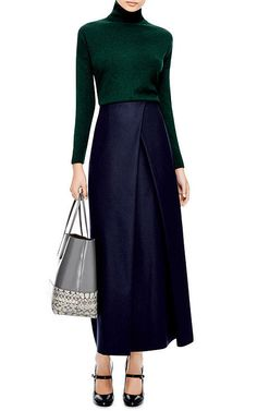 Felted-Wool Faux Wrap Maxi Skirt by Suno - Moda Operandi Blue Skirt Outfits, Navy Maxi Skirts, Fall Outfits, Long Skirts, Work Outfits, Midi Skirt, Modest Fashion, Fashion Outfits, Fashion Clothes