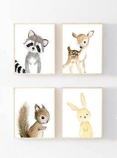 Nursery woodland Print Set 4 Neutral Nursery Art  Nursery
