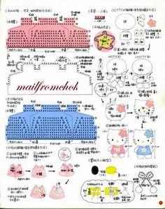 Crochet y Bebê: Grafico dos vestidinhos e montagem da Hello Kitty