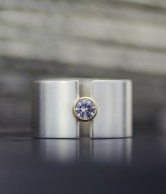 """wide band engagement ring - weddding band -  white sapphire """"lunar eclipse"""" sterling silver and gold statment ring -  handmade by lolide"""