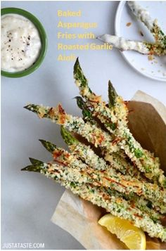 My Business - Baked Asparagus Fries with Roasted Garlic Aioli