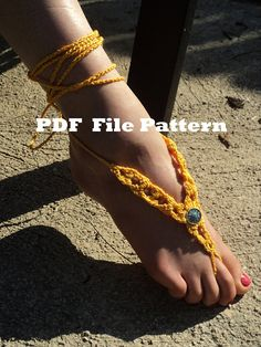 PLEASE NOTE: THIS IS A PATTERN, NOT THE ACTUAL ITEM! There are no refunds for .pdf files. Four page PDF file with instructions to make these pretty sandals. With or without the beads (see photo 4) they are pretty in any color. Dress up your feet with this barefoot sandals - Pretty