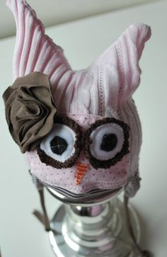 Newborn Up-cycled Owl hat-- Photography prop on Etsy