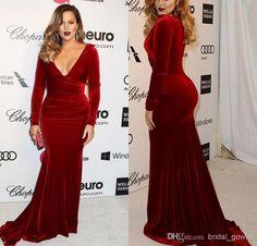 Discount Khloe Kardashian 2014 Oscar Party Wine Red Evening Dresses Long Sleeves Mermaid Velvet Red Carpet Celebrity Dresses Online with $96.13/Piece   DHgate.com