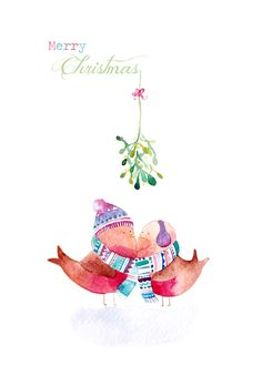 Robins and Mistletoe Christmas Card