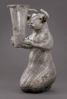 Протоэламская серебрянная статуэтка. 3100-2900 г.г. до н.э. Юго-Западный Иран. Metropolitan Museum