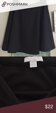 Black Circle Skirt Plain black Circle Skirt. Longer in length, hits right about your knees. It's made of quality fabric and put together very nicely. I wear it st my waist and it is very flattering!  Perfect condition, no flaws or wear and tear. Brand is New York and Co. Madewell Skirts Circle & Skater