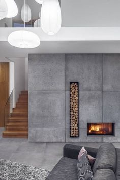 Best Snap Shots modern Contemporary Fireplace Strategies Modern fireplace designs can cover a broader category compared with their contemporary counterparts. Home Fireplace, Modern Fireplace, Living Room With Fireplace, Concrete Fireplace, Christmas Fireplace, Fireplace Ideas, Christmas Decor, Bloomfield Homes, Contemporary Fireplace Designs
