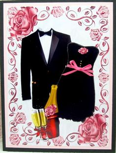 THAT LITTLE BLACK DRESS WITH BLACK TUX IN ROSE FRAME A4 on Craftsuprint designed by Nick Bowley - made by Darlene Handorff - Going out in style. The little black dress is always in style. This might be a great engagement congrats card. Or an invitation to a formal dinner or other event. I printed onto glossy photo paper and cut out the pattern. I layered it onto a pink frame and then to a black folded card. The use of pink in the pattern gave me license to put a nice pink belt with a bow on…