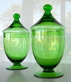 vintage green glass footed apothecary jars