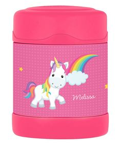 Take a look at this Rainbow Unicorn Personalized Food Container today!