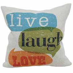 "Quotes & Sayings Pattern Throw Pillow (18""x18"") ""Live"" ""Laugh"" ""Love"" Sofa Cushion Square Shape Perfect Your Home Decor Soft & Comfy Polyester Unisex"