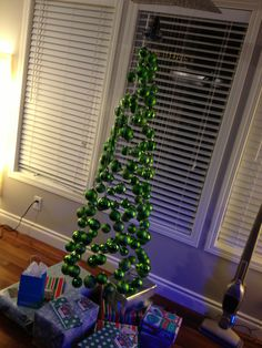 homemade Christmas tree with ornaments