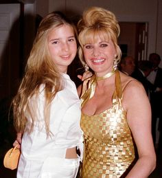 Ivanka, 14, pictured with her mother Ivana Trump